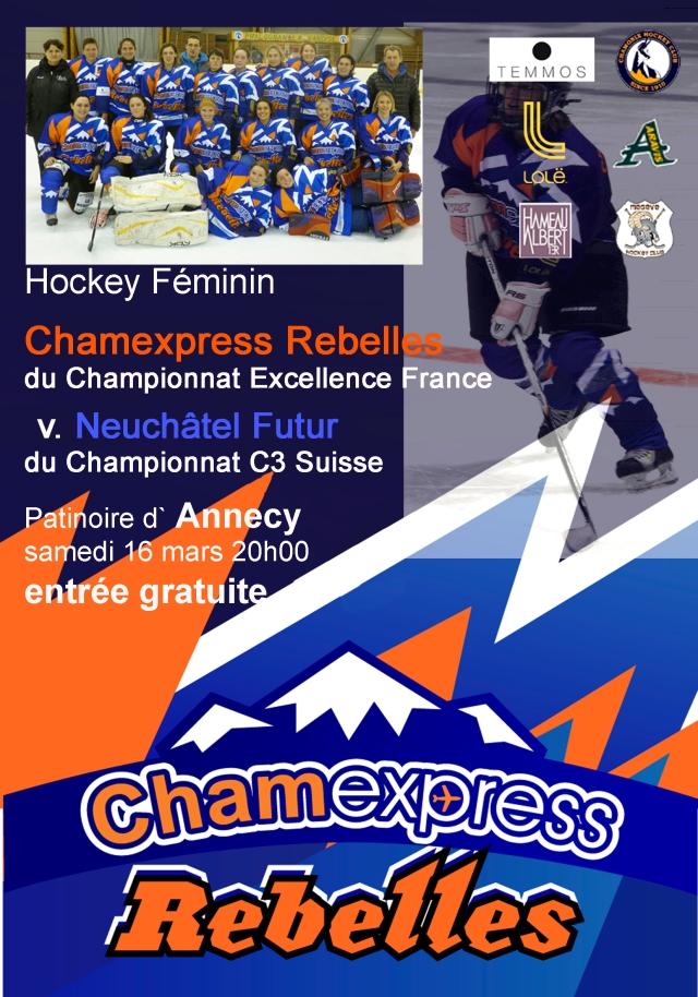 Match amicale France (Chamexpress Rebelles) v. Suisse (Neuchatel), samedi 16 mars 20h00, patinoire d'Annecy