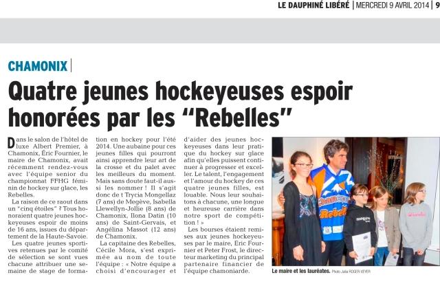 Dauphiné Libéré 9 avril 2014 -  BOURSES ESPOIRS copy